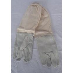 Guanti in pelle con manichetta in cotone, taglia S / 8